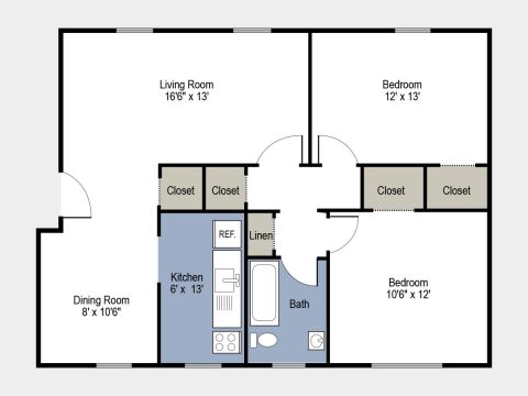 2 Bedroom 1 Bath with Dining Room